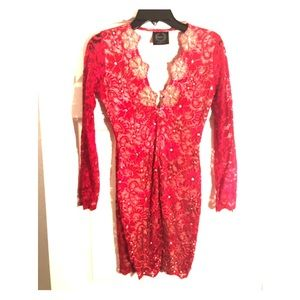 Red and gold Holt Miami Dress